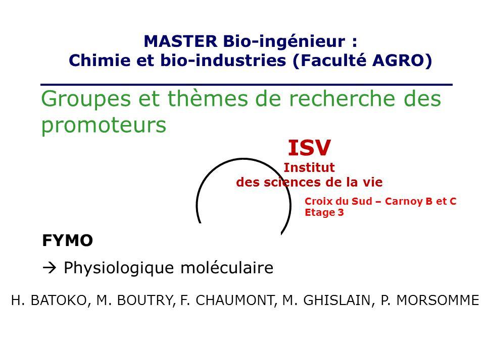 Groupes et thèmes de recherche des promoteurs ISV Institut des sciences de la vie FYMO Physiologique moléculaire MASTER Bio-ingénieur : Chimie et bio-
