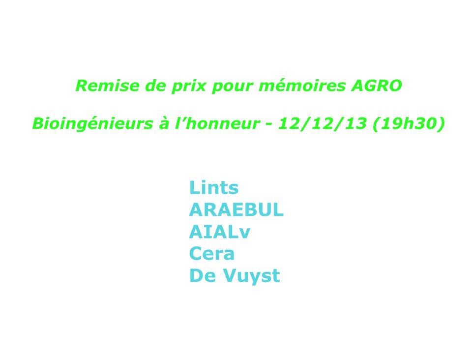 Remise de prix pour mémoires AGRO Bioingénieurs à lhonneur - 12/12/13 (19h30) Lints ARAEBUL AIALv Cera De Vuyst