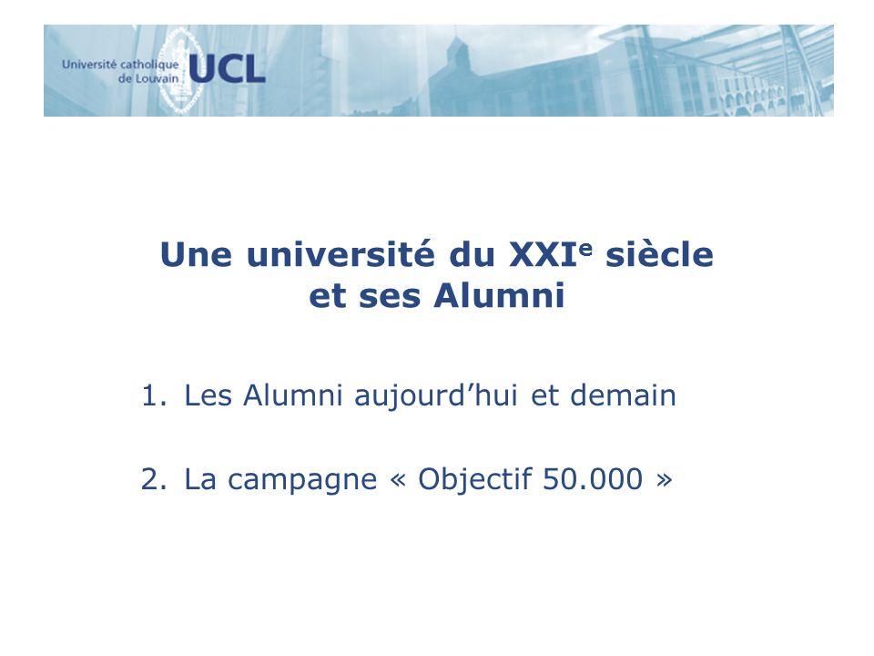 Une université du XXI e siècle et ses Alumni 1.Les Alumni aujourdhui et demain 2.La campagne « Objectif 50.000 »
