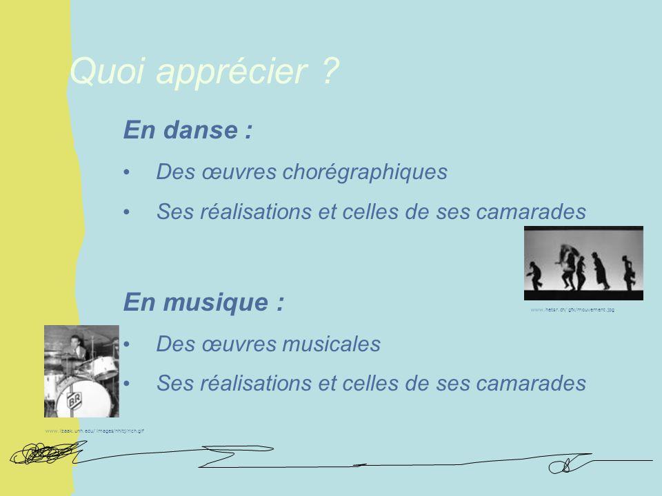 En danse : Des œuvres chorégraphiques Ses réalisations et celles de ses camarades En musique : Des œuvres musicales Ses réalisations et celles de ses camarades Quoi apprécier .