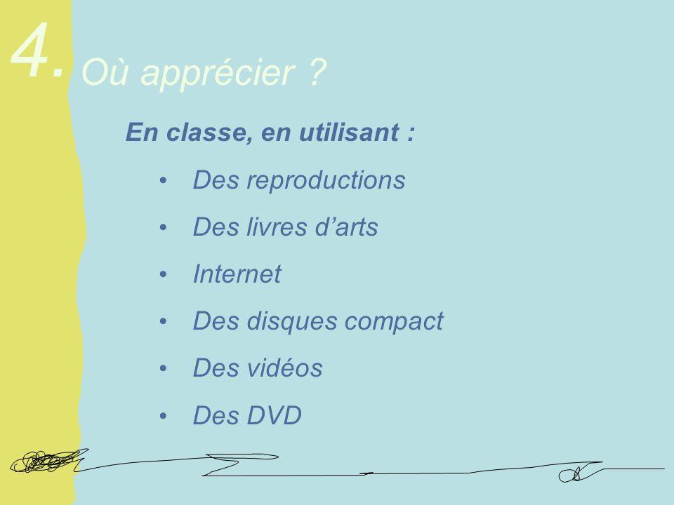 En classe, en utilisant : Des reproductions Des livres darts Internet Des disques compact Des vidéos Des DVD Où apprécier .