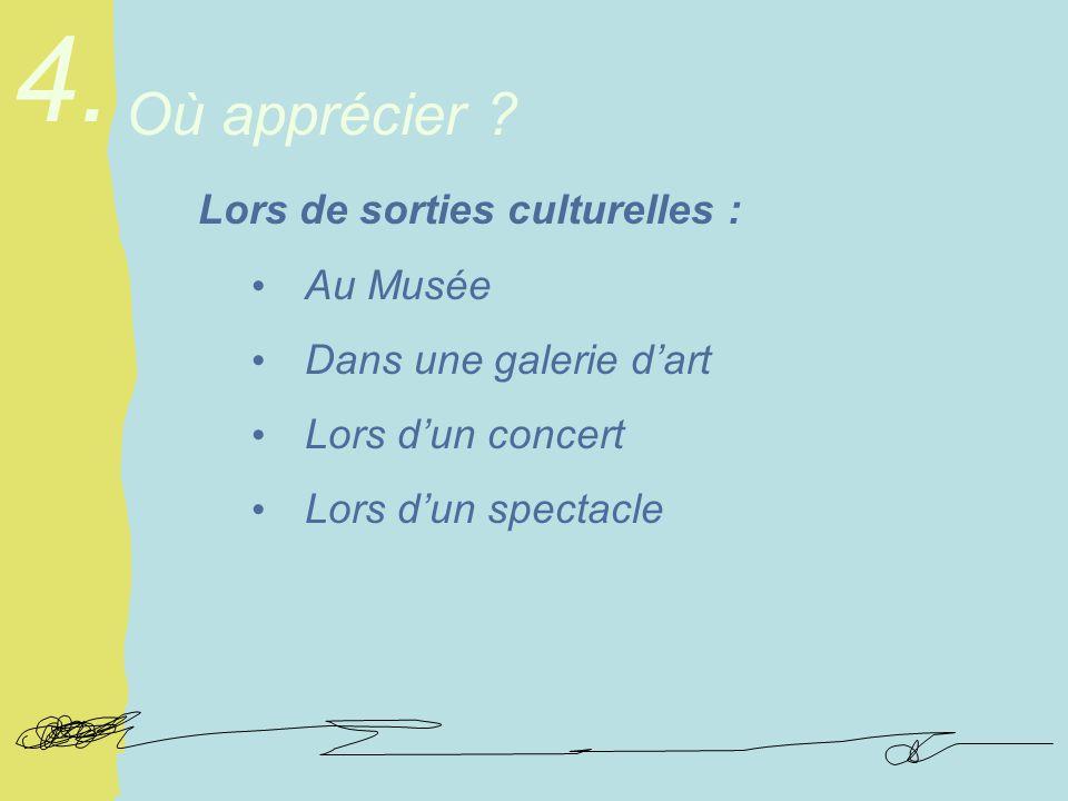 Lors de sorties culturelles : Au Musée Dans une galerie dart Lors dun concert Lors dun spectacle Où apprécier .