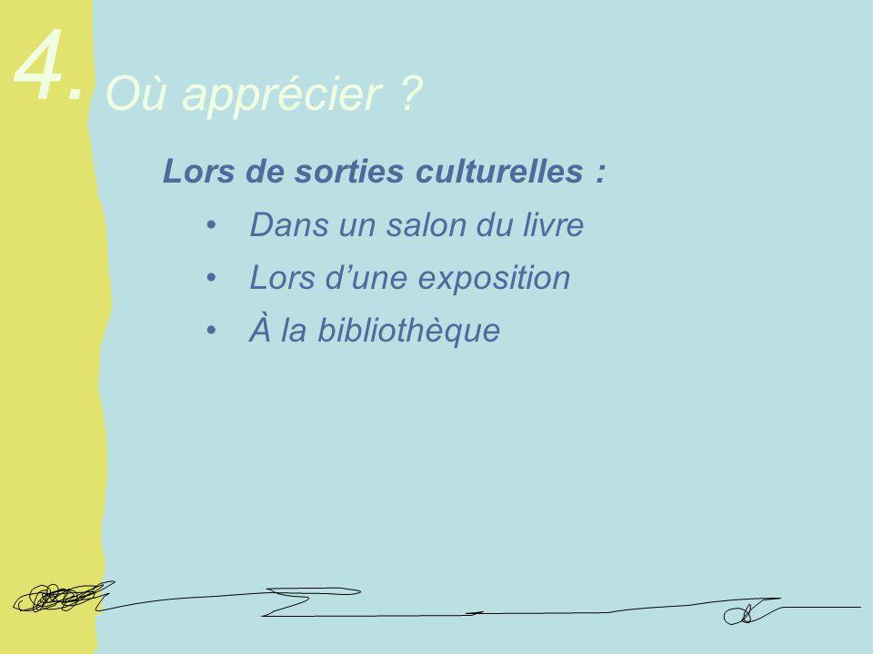 Lors de sorties culturelles : Dans un salon du livre Lors dune exposition À la bibliothèque Où apprécier .