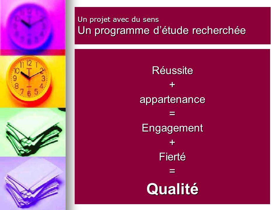 Un projet avec du sens Un programme détude recherchée Réussite+appartenance=Engagement+Fierté=Qualité