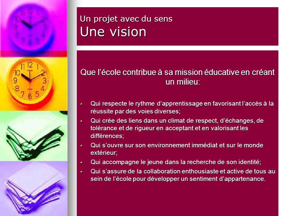 Un projet avec du sens Une vision Que lécole contribue à sa mission éducative en créant un milieu: Qui respecte le rythme dapprentissage en favorisant