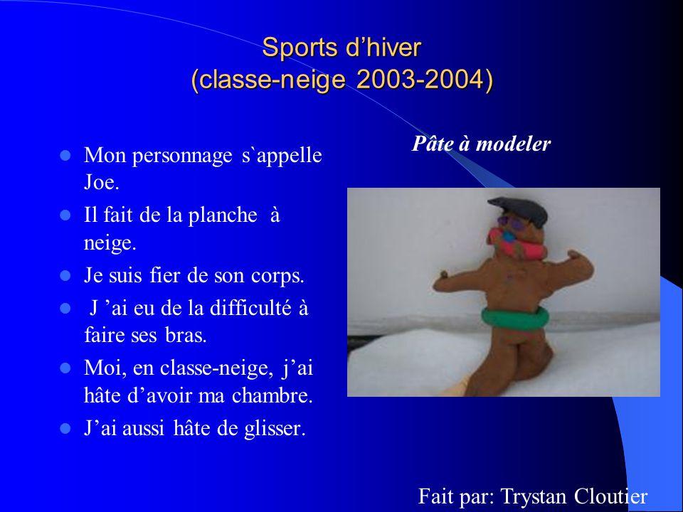 Sports dhiver (classe-neige 2003-2004) Mon personnage s`appelle Joe. Il fait de la planche à neige. Je suis fier de son corps. J ai eu de la difficult