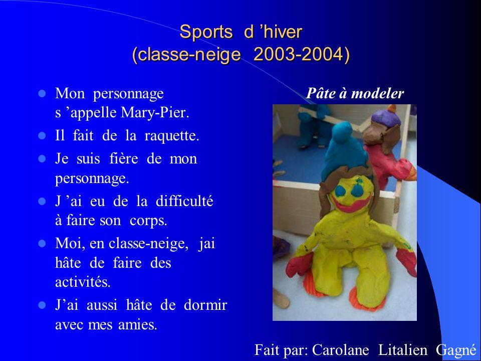 Sports d hiver (classe-neige 2003-2004) Mon personnage s appelle Mary-Pier. Il fait de la raquette. Je suis fière de mon personnage. J ai eu de la dif