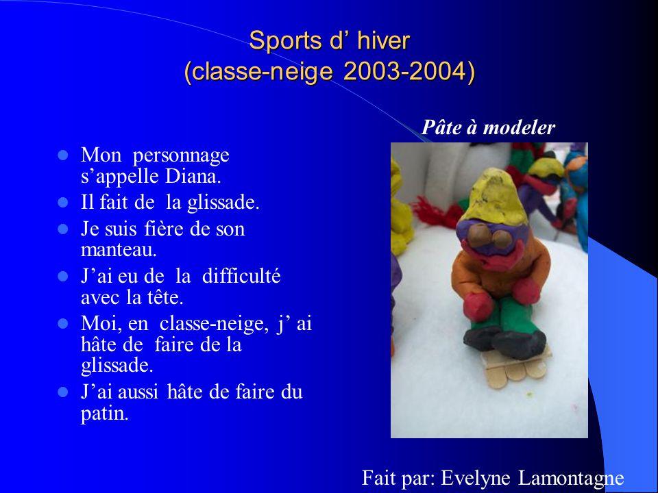Sports d hiver (classe-neige 2003-2004) Mon personnage sappelle Diana. Il fait de la glissade. Je suis fière de son manteau. Jai eu de la difficulté a
