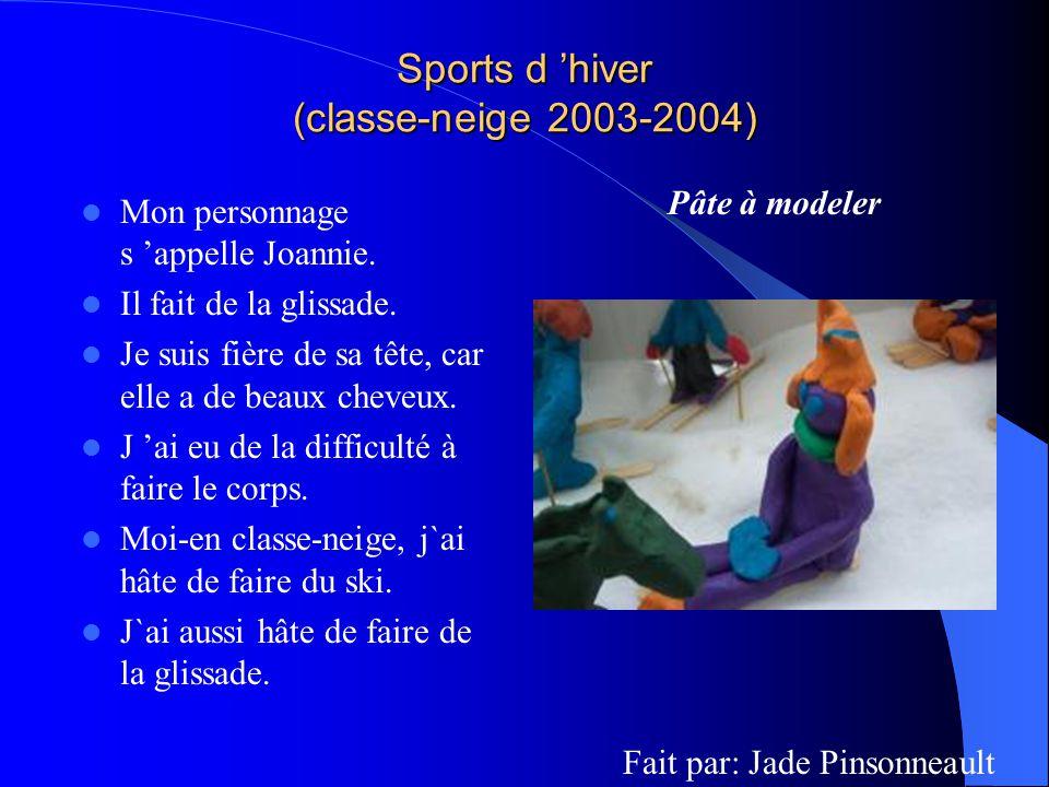 Sports d hiver (classe-neige 2003-2004) Mon personnage s appelle Joannie. Il fait de la glissade. Je suis fière de sa tête, car elle a de beaux cheveu