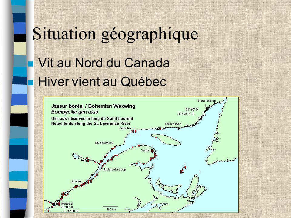 Situation géographique n Vit au Nord du Canada n Hiver vient au Québec