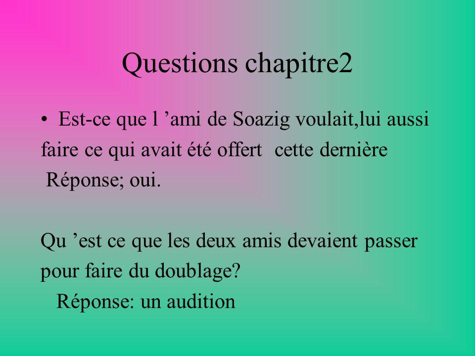 Question chapitre 1 Quest-ce qui a fait honte à Soazig quand elle est rentrée chez elle avec son ami Simon .