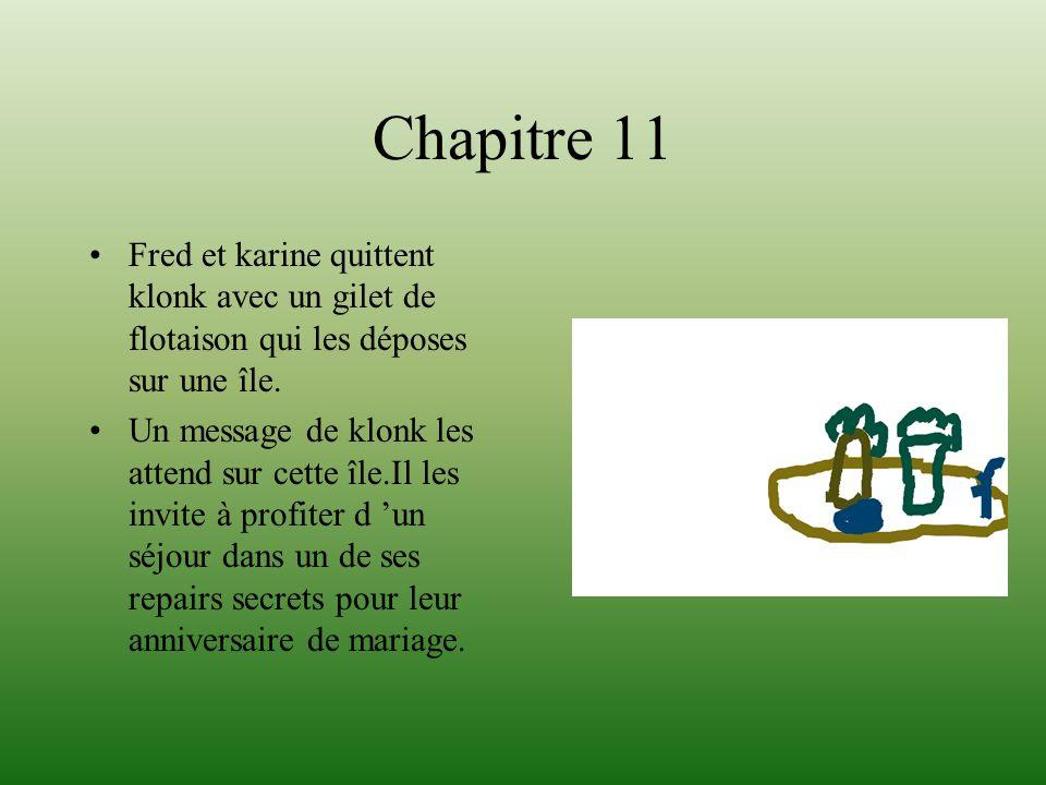 Chapitre 11 Fred et karine quittent klonk avec un gilet de flotaison qui les déposes sur une île. Un message de klonk les attend sur cette île.Il les