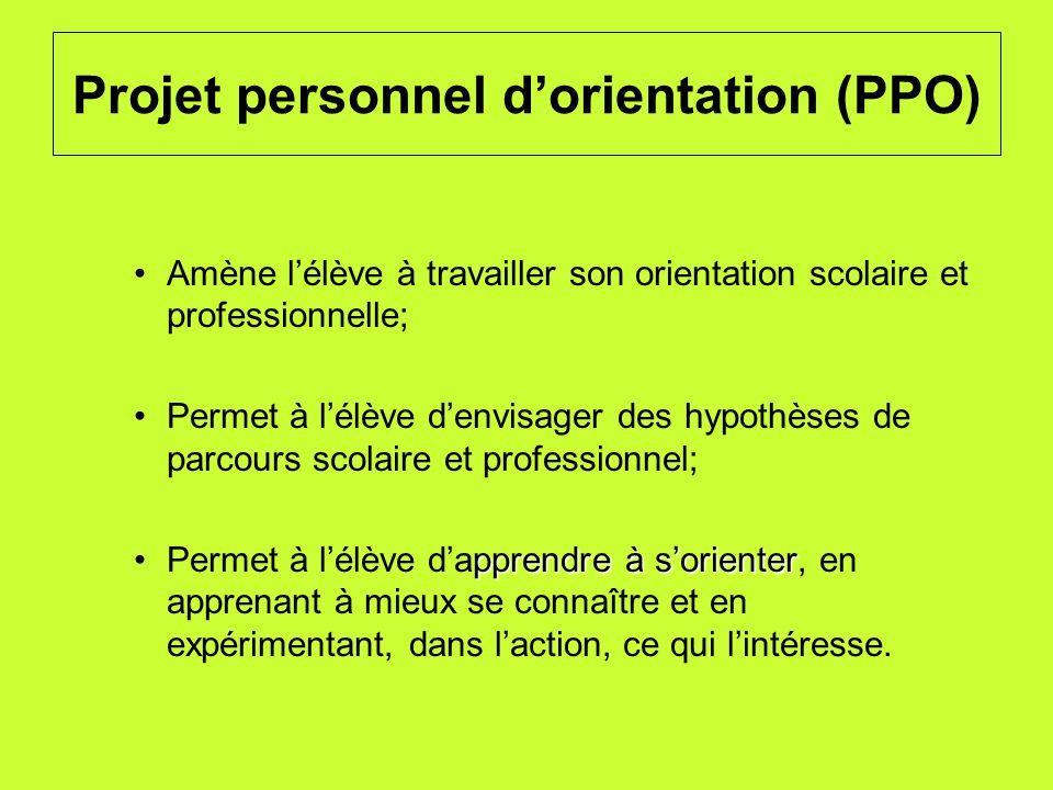 Projet personnel dorientation (PPO) Amène lélève à travailler son orientation scolaire et professionnelle; Permet à lélève denvisager des hypothèses d