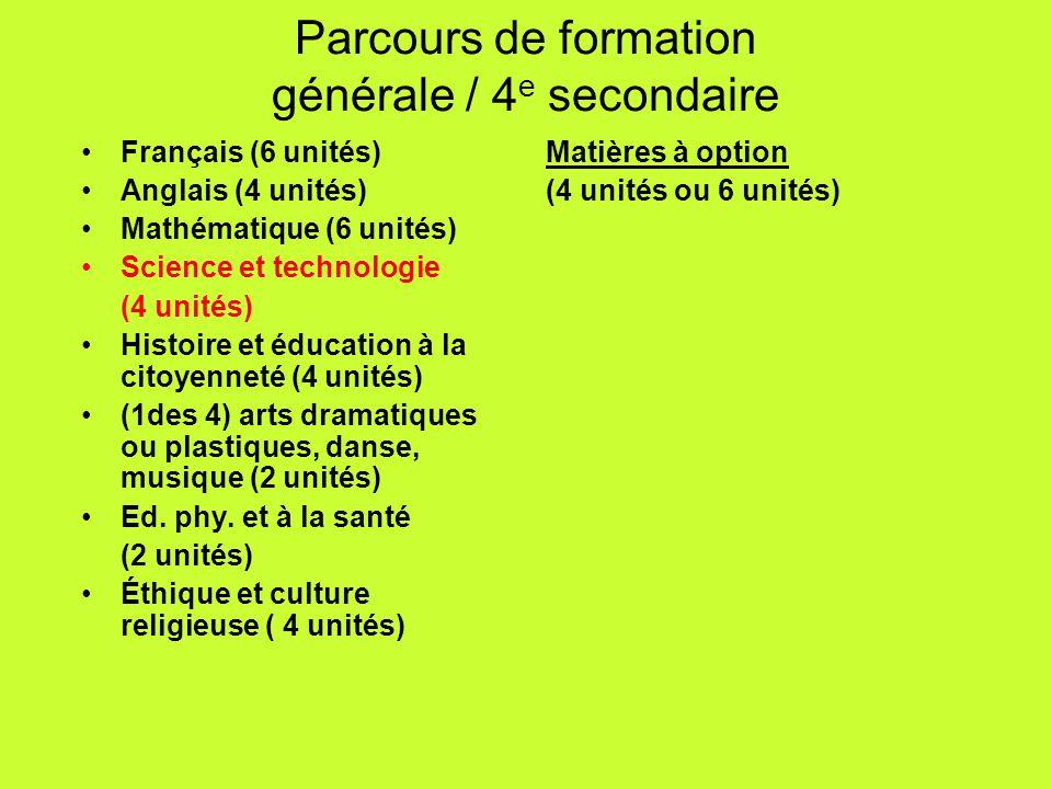 Français (6 unités) Anglais (4 unités) Mathématique (6 unités) Science et technologie (4 unités) Histoire et éducation à la citoyenneté (4 unités) (1d