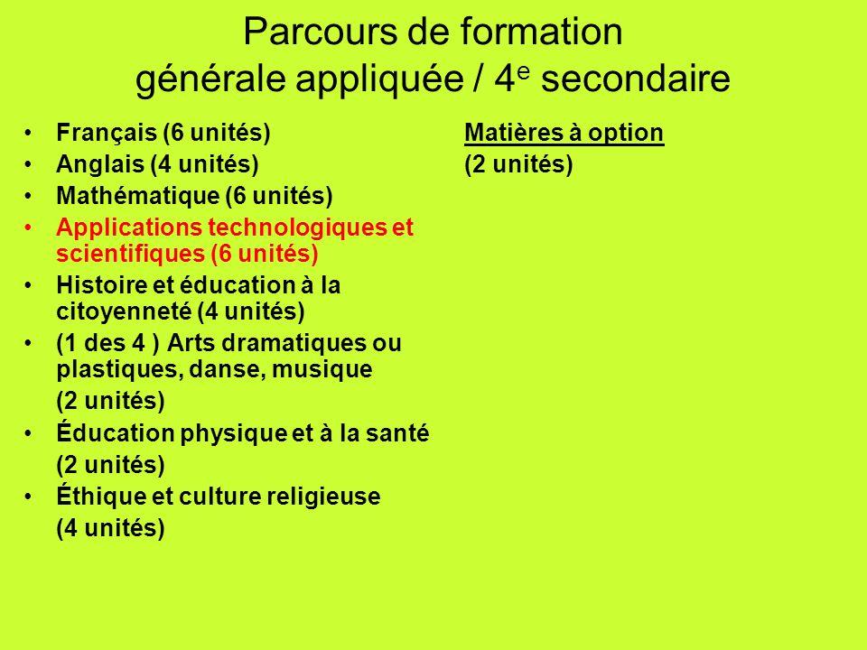 Français (6 unités) Anglais (4 unités) Mathématique (6 unités) Applications technologiques et scientifiques (6 unités) Histoire et éducation à la cito