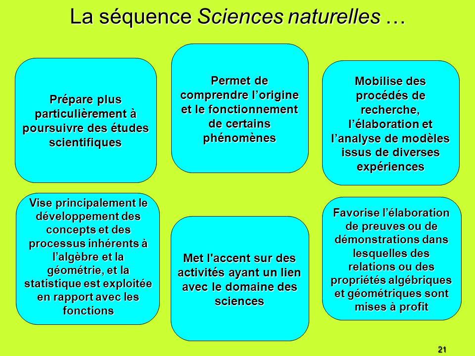 La séquence Sciences naturelles … Prépare plus particulièrement à poursuivre des études scientifiques Vise principalement le développement des concept