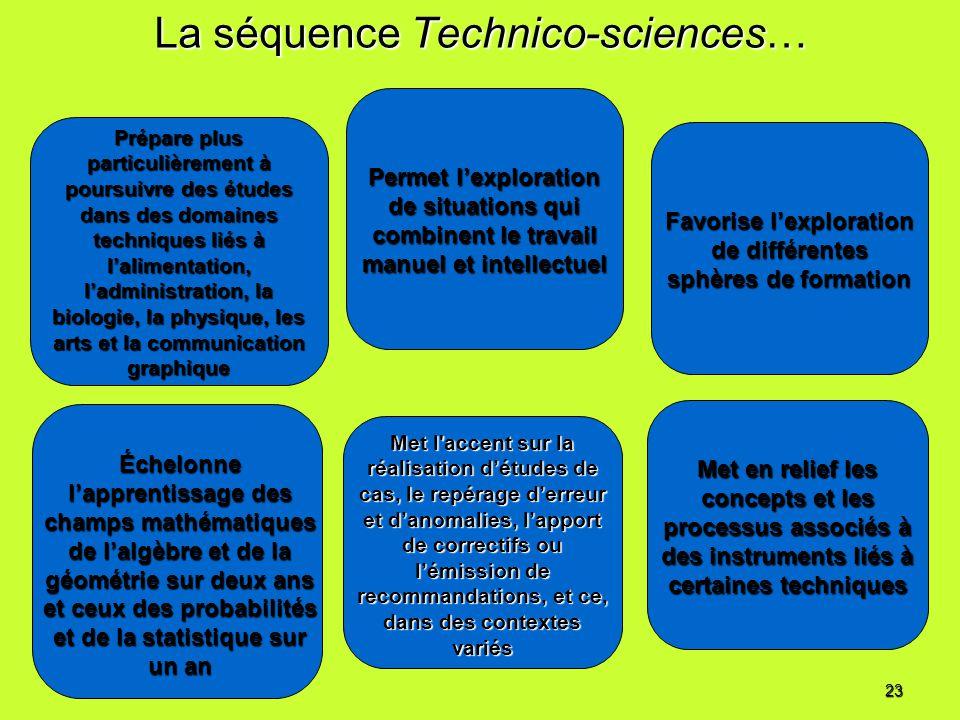 La séquence Technico-sciences… Prépare plus particulièrement à poursuivre des études dans des domaines techniques liés à lalimentation, ladministratio