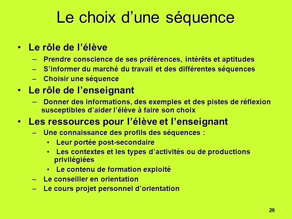 Le choix dune séquence Le rôle de lélèveLe rôle de lélève – Prendre conscience de ses préférences, intérêts et aptitudes – Sinformer du marché du trav
