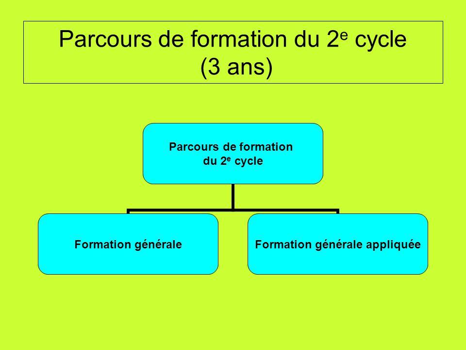 Parcours de formation du 2 e cycle (3 ans) Parcours de formation du 2 e cycle Formation générale Formation générale appliquée