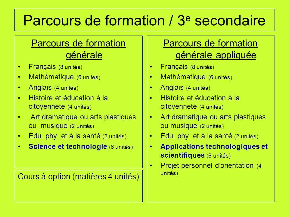 Parcours de formation / 3 e secondaire Parcours de formation générale Français (8 unités) Mathématique (6 unités) Anglais (4 unités) Histoire et éduca