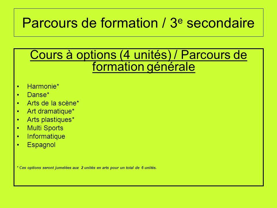 Parcours de formation / 3 e secondaire Cours à options (4 unités) / Parcours de formation générale Harmonie* Danse* Arts de la scène* Art dramatique*