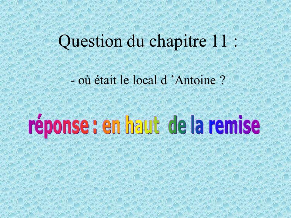 Question du chapitre 10 : - Ést-ce que Antoine a fait des rêves horribles cette nuit là ?