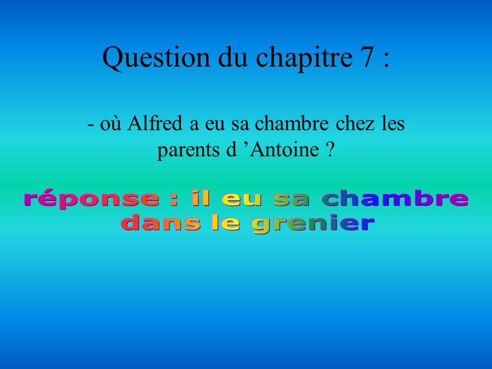 Question du chapitre 6 : - Est-ce que Alfred accepte d habiter chez les parents dAntoine ?