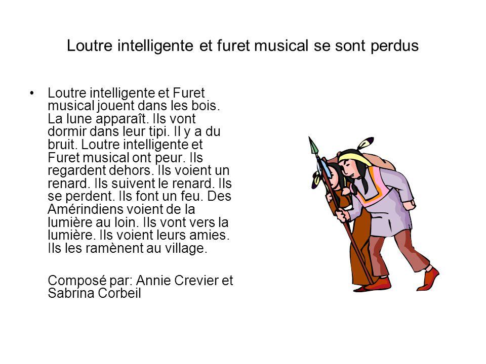 Loutre intelligente et furet musical se sont perdus Loutre intelligente et Furet musical jouent dans les bois. La lune apparaît. Ils vont dormir dans