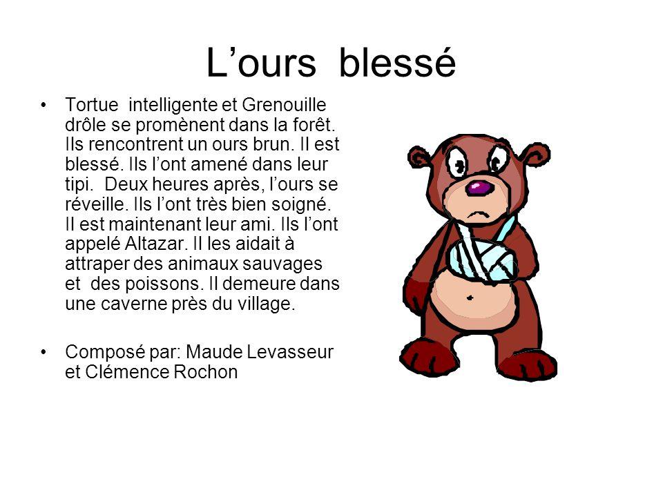 Lours blessé Tortue intelligente et Grenouille drôle se promènent dans la forêt. Ils rencontrent un ours brun. Il est blessé. Ils lont amené dans leur