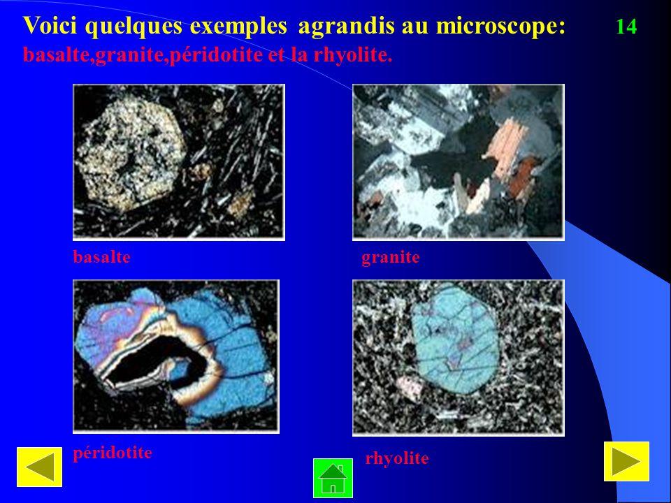Voici quelques exemples agrandis au microscope: basalte,granite,péridotite et la rhyolite. basaltegranite péridotite rhyolite 14