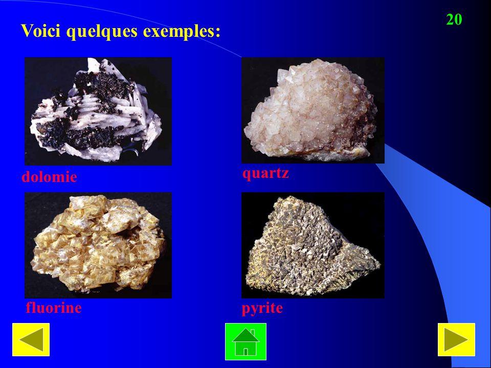 Voici quelques exemples: dolomie quartz fluorinepyrite 20