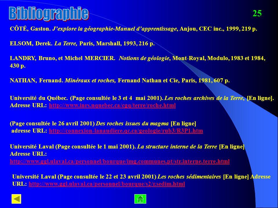 25 CÔTÉ, Gaston. Jexplore la géographie-Manuel dapprentissage, Anjou, CEC inc., 1999, 219 p. ELSOM, Derek. La Terre, Paris, Marshall, 1993, 216 p. LAN