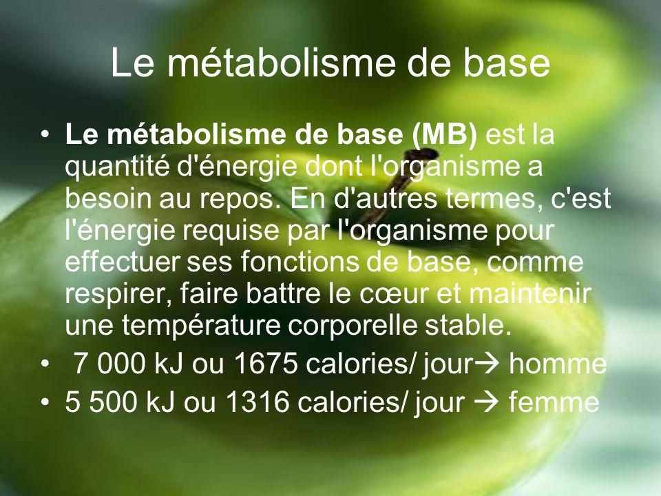 Le métabolisme de base Le métabolisme de base (MB) est la quantité d énergie dont l organisme a besoin au repos.