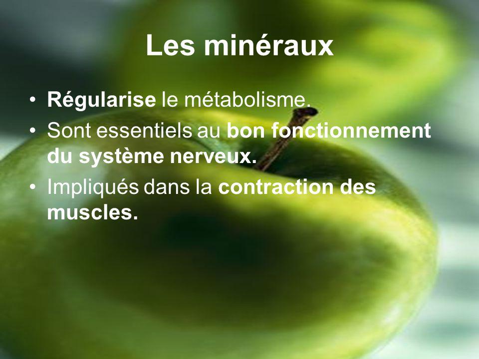 Les minéraux Régularise le métabolisme.Sont essentiels au bon fonctionnement du système nerveux.