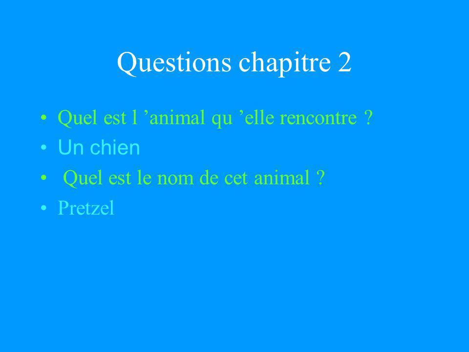 Questions chapitre 2 Quel est l animal qu elle rencontre .