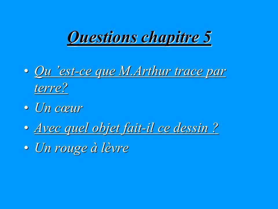 Questions chapitre 5 Qu est-ce que M.Arthur trace par terre?Qu est-ce que M.Arthur trace par terre.