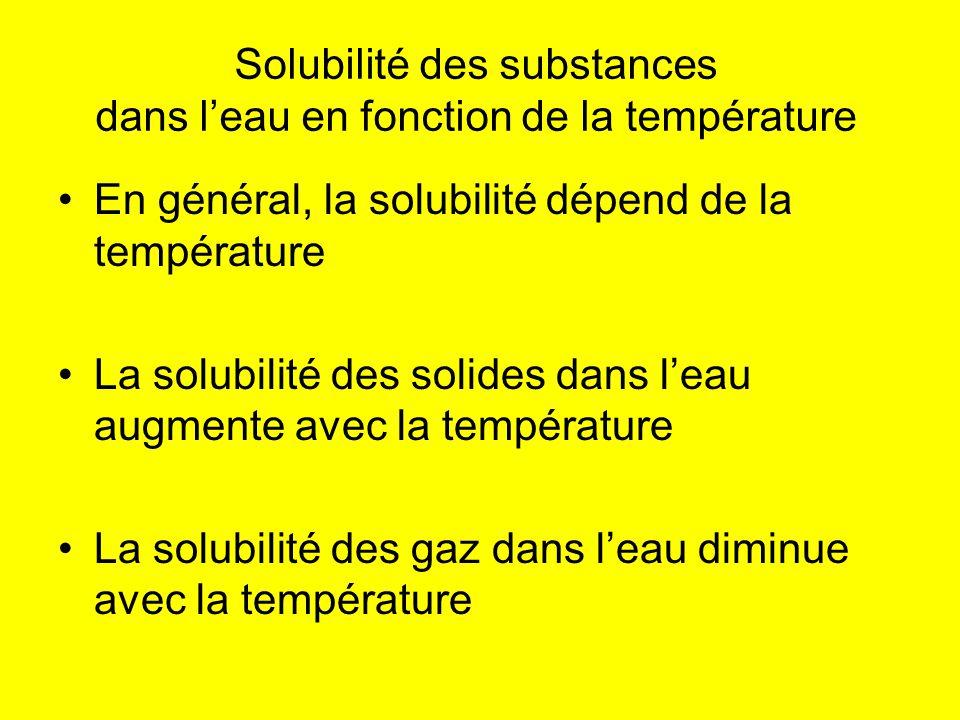 Solubilité des substances dans leau en fonction de la température En général, la solubilité dépend de la température La solubilité des solides dans le