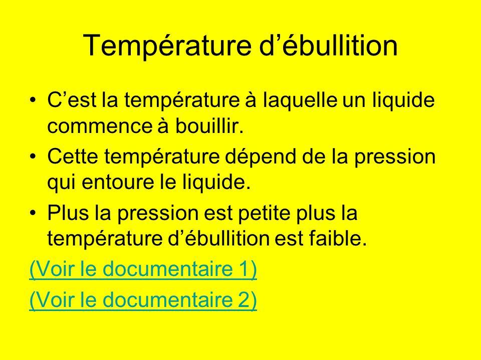Température débullition Cest la température à laquelle un liquide commence à bouillir. Cette température dépend de la pression qui entoure le liquide.