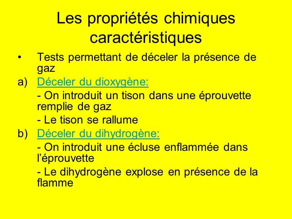 Les propriétés chimiques caractéristiques Tests permettant de déceler la présence de gaz a)Déceler du dioxygène:Déceler du dioxygène: - On introduit u
