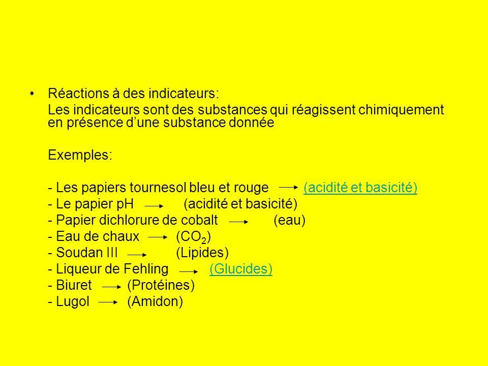 Réactions à des indicateurs: Les indicateurs sont des substances qui réagissent chimiquement en présence dune substance donnée Exemples: - Les papiers