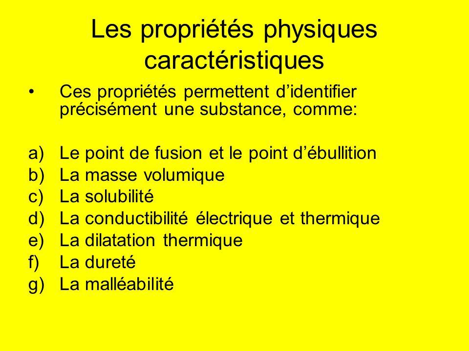 Les propriétés physiques caractéristiques Ces propriétés permettent didentifier précisément une substance, comme: a)Le point de fusion et le point déb