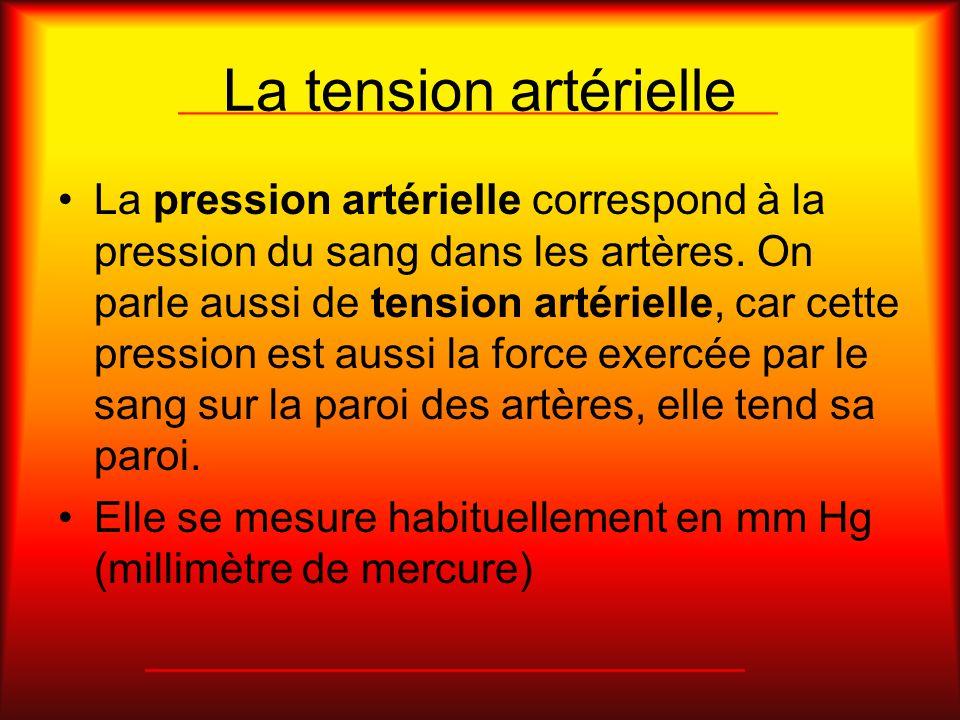 La tension artérielle La pression artérielle correspond à la pression du sang dans les artères. On parle aussi de tension artérielle, car cette pressi