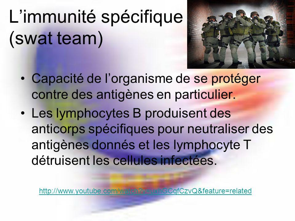 Limmunité spécifique (swat team) Capacité de lorganisme de se protéger contre des antigènes en particulier.