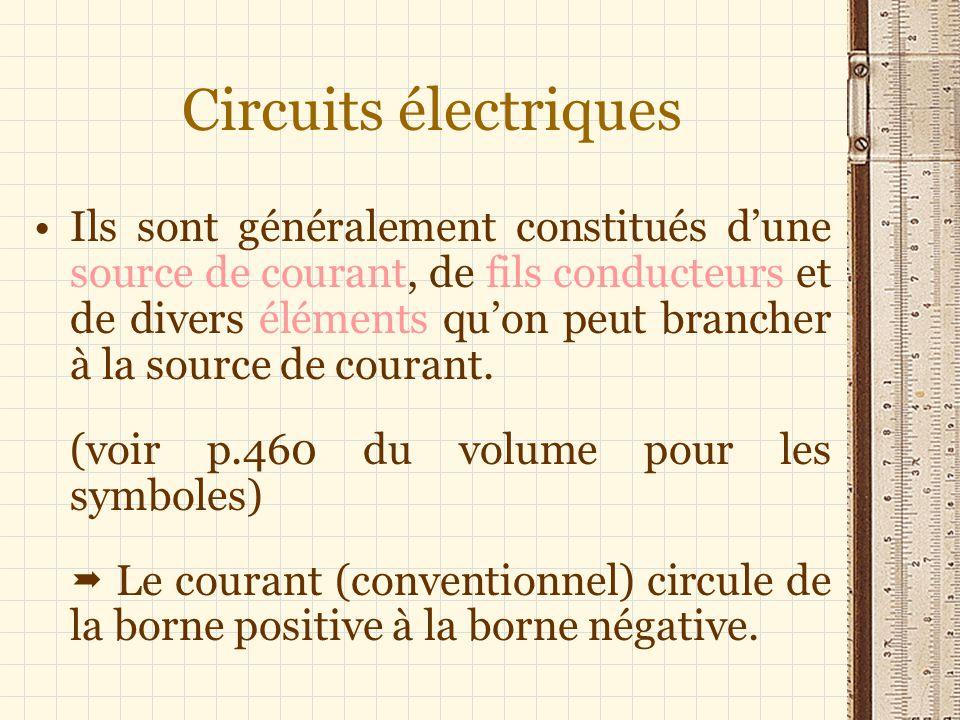 Circuits électriques Ils sont généralement constitués dune source de courant, de fils conducteurs et de divers éléments quon peut brancher à la source de courant.