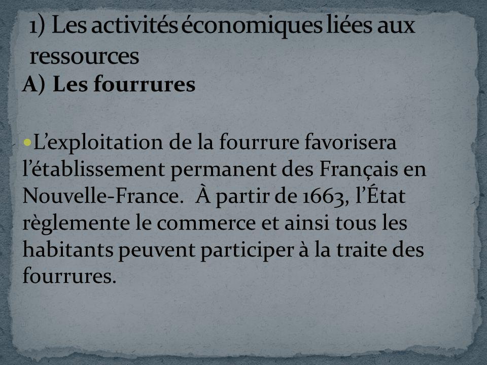 A) Les fourrures Lexploitation de la fourrure favorisera létablissement permanent des Français en Nouvelle-France. À partir de 1663, lÉtat règlemente