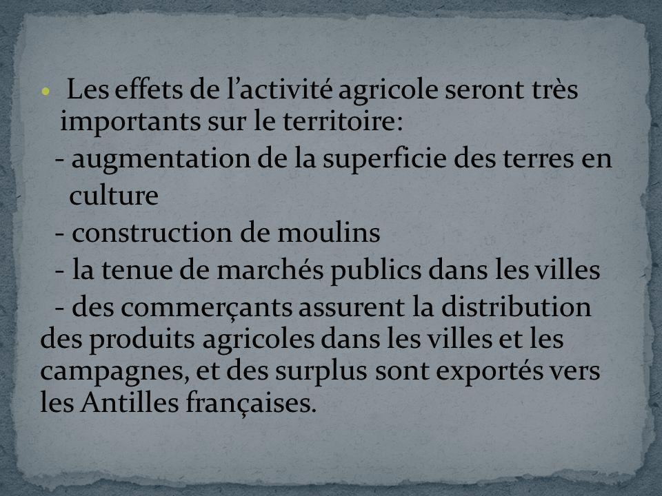 Les effets de lactivité agricole seront très importants sur le territoire: - augmentation de la superficie des terres en culture - construction de mou