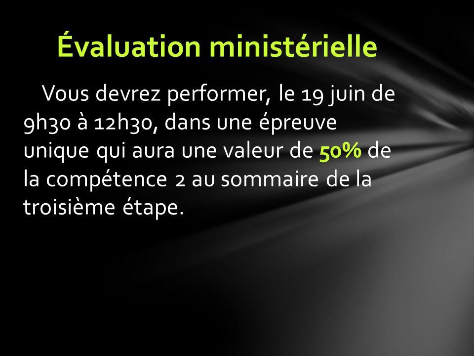 Vous devrez performer, le 19 juin de 9h30 à 12h30, dans une épreuve unique qui aura une valeur de 50% de la compétence 2 au sommaire de la troisième é