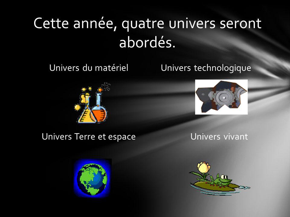 Cette année, quatre univers seront abordés. Univers du matériel Univers technologique Univers Terre et espace Univers vivant
