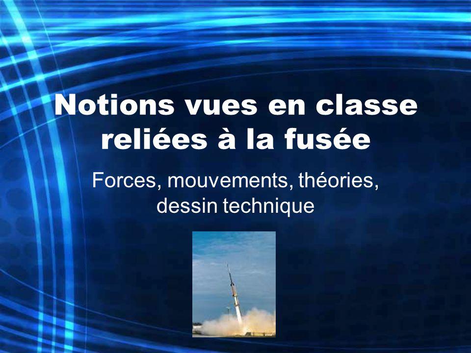 Notions vues en classe reliées à la fusée Forces, mouvements, théories, dessin technique