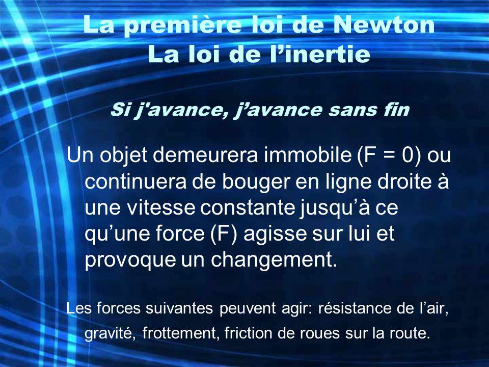 La première loi de Newton La loi de linertie Si j'avance, javance sans fin Un objet demeurera immobile (F = 0) ou continuera de bouger en ligne droite